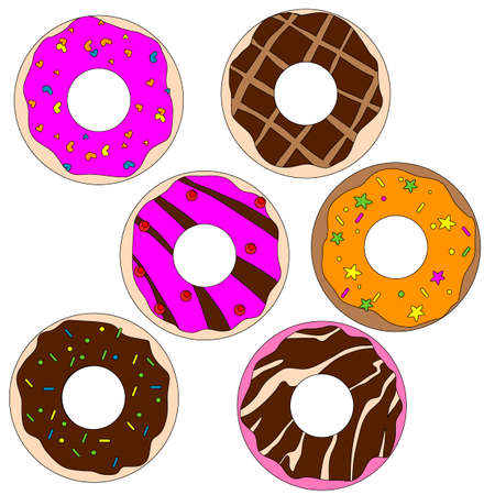 Illustration pour images of sweet donuts in different colors, vector illustration, isolate on a white background - image libre de droit