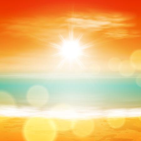 Illustration pour Sea sunset with bright sun, light on lens. - image libre de droit