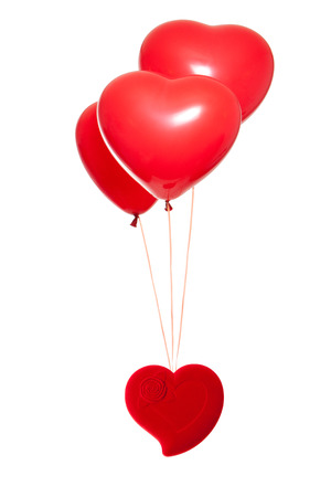 Fancy box with a red heart-shaped balloon, isolated against white background