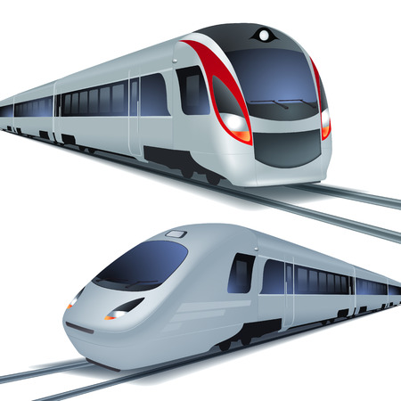 Illustration pour Modern high speed trains - image libre de droit