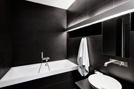 Photo pour Modern minimalism style bathroom interior in black and white tones - image libre de droit