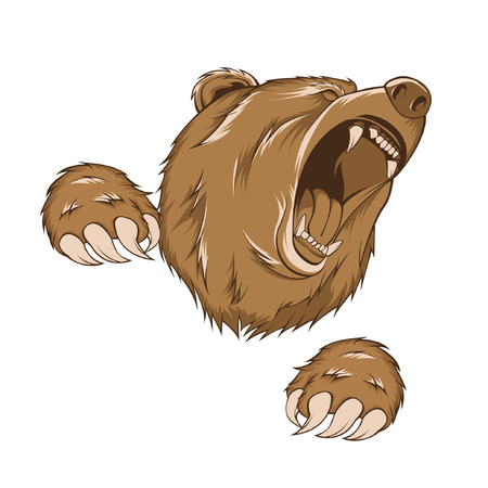 Illustration for grizzly bear, vector with scratch pose - Royalty Free Image