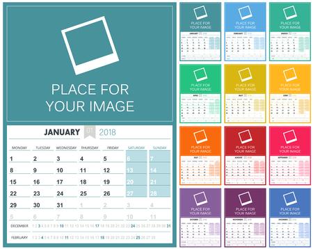 English Calendar 2018 / planning calendar template 2018 set of 12 months January - December, week starts on Monday, colorful calendar template, vector illustration