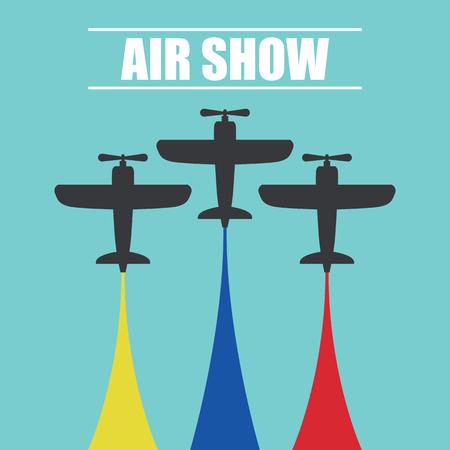 Ilustración de Maneuvers of an fighter planes in the blue sky for air show banner vector illustration. - Imagen libre de derechos