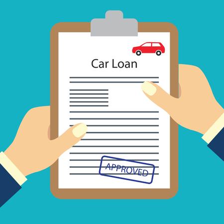 Illustration pour man holding loan agreement form approved for loan application concept. vector illustration - image libre de droit