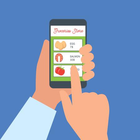 Illustration pour hand holding cellphone for online shopping groceries. vector illustration - image libre de droit