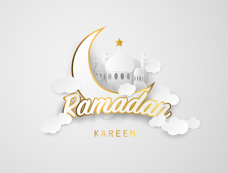 Illustration pour Ramadan kareem background. Paper cut vector illustration with mosque and moon, , place for text greeting card and banner for Ramadan kareem - image libre de droit