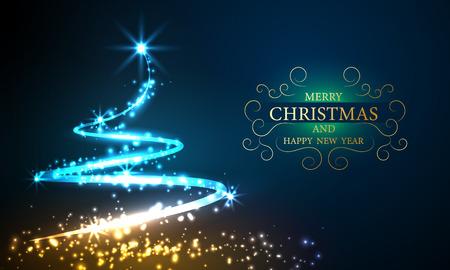 Illustration pour Christmas lights tree bokeh background with party vector poster - image libre de droit