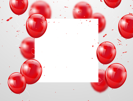 Illustration for red balloons, vector illustration. Confetti and ribbons, Celebration background template with. - Royalty Free Image