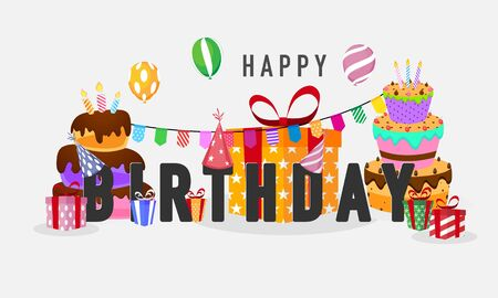 Illustration for birthday party Colorful celebration background. - Royalty Free Image