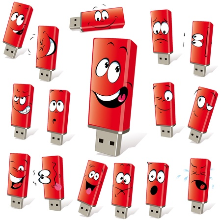 red flash disk with many expressions