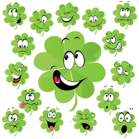 Four leaf clover cartoon with many facial expression - symbol of happiness