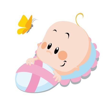 Illustration pour baby with butterfly  - image libre de droit