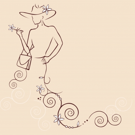 Illustration pour abstract woman with flowers and hat - image libre de droit