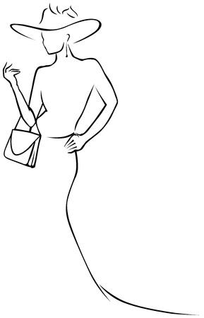 Illustration pour black lines woman in hat  - image libre de droit