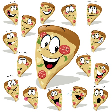 Illustration for pizza cartoon illustration with many expressions - Royalty Free Image