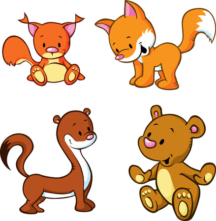 Foto de fox, bear, weasel and squirrel  - cute animals cartoon isolated on white background - Imagen libre de derechos