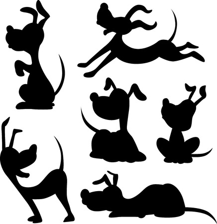 Illustration for funny dog silhouette - vector illustration - Royalty Free Image