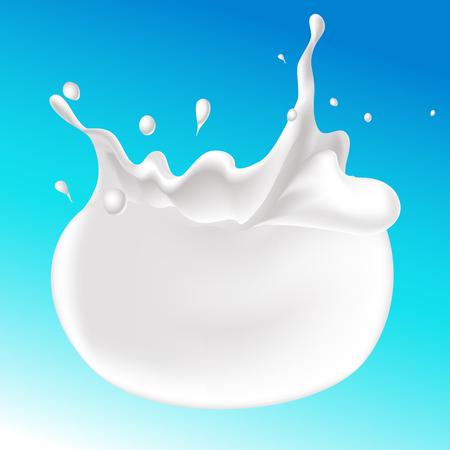 splash of milk on blue background - vector illustration