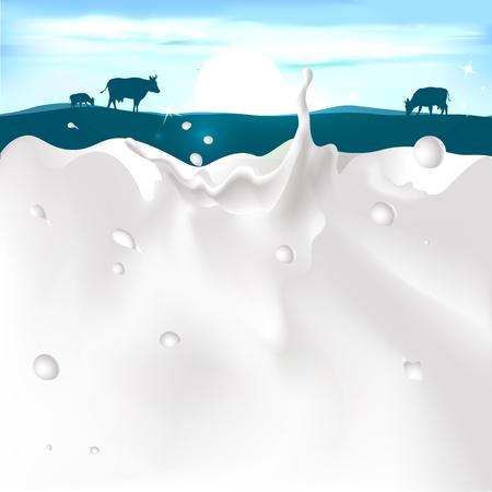 Vektor für vector white splash milk illustration on dark blue background with cow and sunset - Lizenzfreies Bild