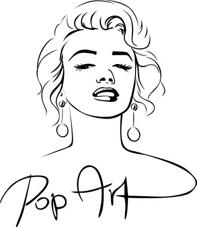 Illustration pour Marilyn Sketch Pop Art Design - vector illustration - image libre de droit