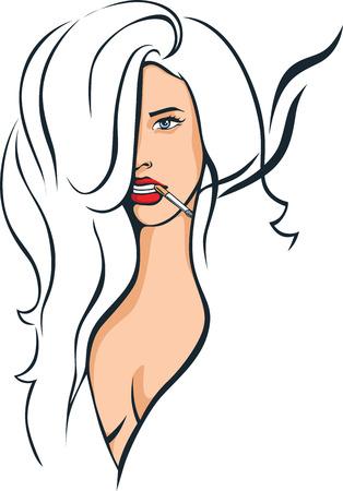 sexy woman smoking illustration - vector drawing