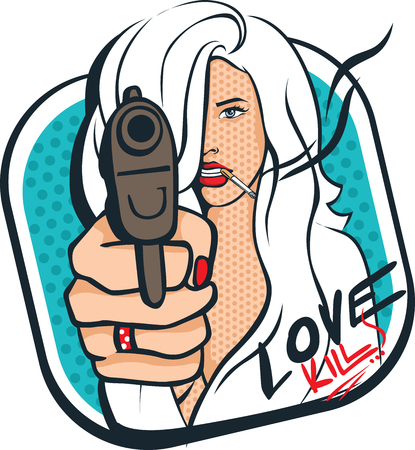 Sexy woman with gun and cigarettes - pop art design