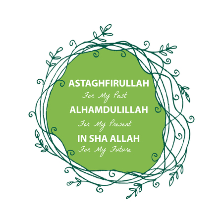 Illustration pour Astaghfirullah for the Past, Alhamdulillah for the present, In Sha Allah for the future. Islamic quran quotes - image libre de droit