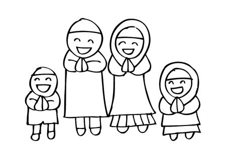 Illustration pour Muslim family cartoon - image libre de droit
