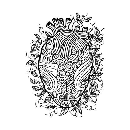 Illustration pour Hand drawing sketch human heart . - image libre de droit