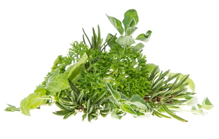 Heap of fresh Herbs isolated on white background