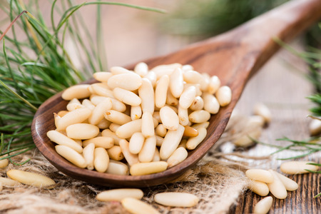 Portion of Pine Nuts as detailes close-up shot
