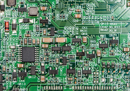 Circuit Board with a lot of different components (close-up shot)