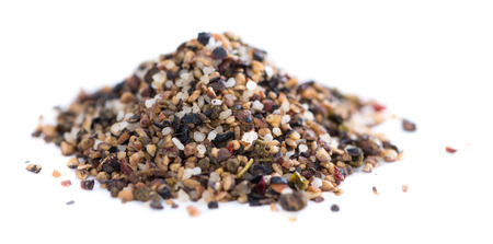 Crushed Peppercorns with different spices and salt isolated on white background