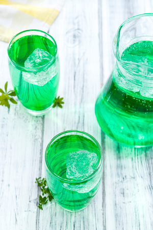 Woodruff Drink in a glass (made with syrup)