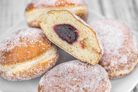 Photo pour Portion of Berliner Doughnuts as detailed close-up shot; selective focus - image libre de droit