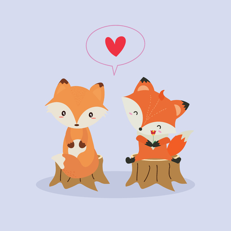 Illustration for Cute fox in love illustration. - Royalty Free Image