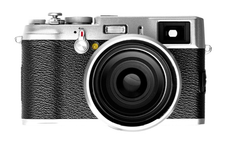 Digital vintage retro camera SLR on isolated white background.