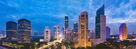 Photo for Aerial view of Jakarta's Central Business District at dusk (blue hour). Jakarta cityscape at sunset. - Royalty Free Image