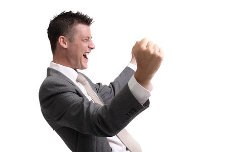 young, handsome businessman showing  excitement of a successful deal,interview,presentation.. isolated over white background