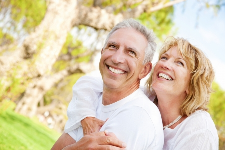 Portrait of a happy mature couple outdoorsの写真素材