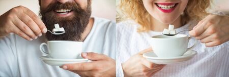 Tea. Sugar. A young couple is drinking coffee or tea with sugar. Man and woman. Smile. Collage. Set of photos of a girl and a guy. Smile with white teeth. Tasty morning. Gender. Calories.の写真素材