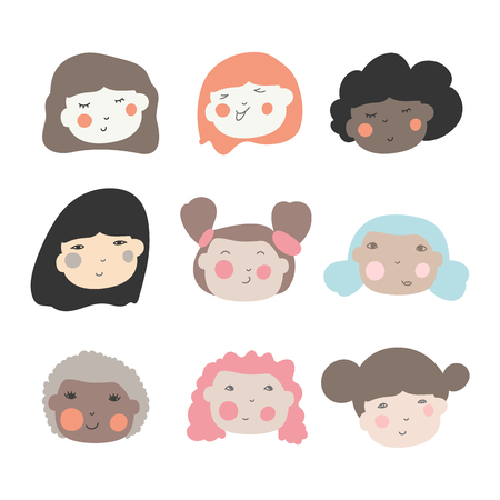 Illustration for Cute doodle ilustrations of beautiful young girls with various hair style. Different ethnic nationality affiliation woman head face vector icons. - Royalty Free Image