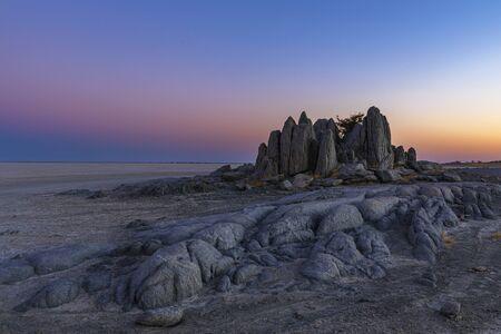 Photo pour Monolith rocks after sunset at Kubu Island - image libre de droit