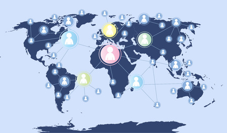 Social Media illustration world map