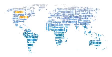 Social Media tagcloud world map illustration