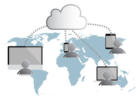 cloud computing infographic illustration. world map, people with tablet, computer smartphone and notebook