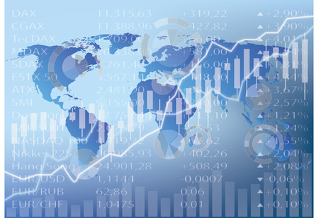 stock chart illustration, world map, figures and graph