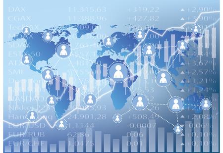 Social Media Icons on stock market chart illustration