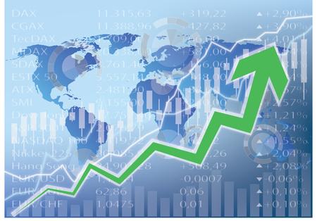 Stock Market Illustration - Green arrow on world map